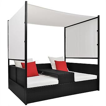 vidaXL ガーデン ベッド ウィズ キャノピー ブラック 190×130 cm ポリ ラタン