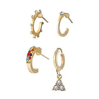 4pcs oor studs set ingelegde driehoek gouden diamanten oorbellen voor dagelijks gebruik