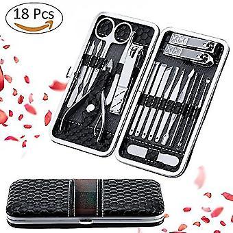 Conjunto de cuidados de unha, kit de manicure, caixa de viagem de couro de cortador de unhas