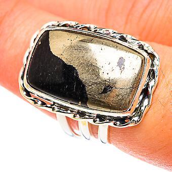 Pirita em Ônix Preto Tamanho 7.5 (925 Prata Esterlina) - Joias Boho Vintage Handmade RING76017