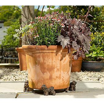 Potty Feet Bichon Frise Themed Plant Pot Feet - Bronze Color - Set of 3