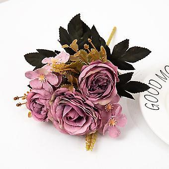 Retro silk artificial rose flowers diy autumn wedding home decoration christmas arrangement fake peony hydrangea bride bouquet