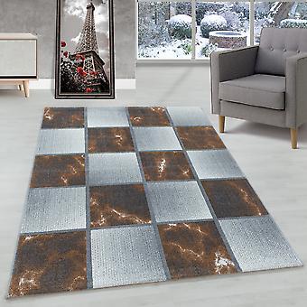 Woonkamer tapijt korte stapel tapijt kleur Terra vierkant patroon gemarmerd zacht