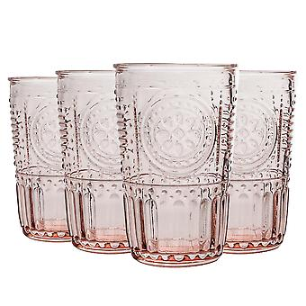 4x Romantic Highball Glasses Decorated Water Juice Cocktail Tumblers 340ml Pink