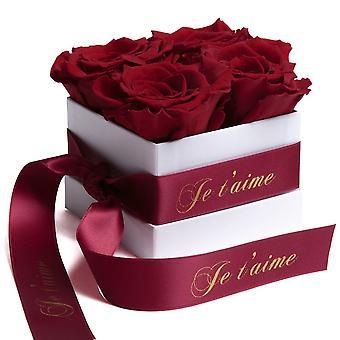Roses Box Wei eviga rosor hållbara 3 år Mörkröd Je t'aime Gåva
