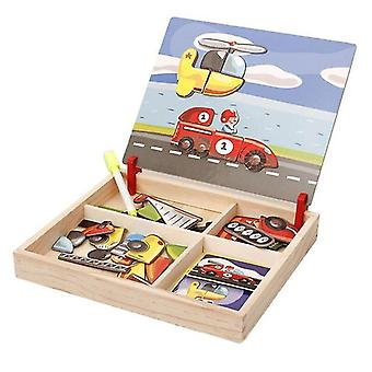 Interlocking blocks wooden magnetic puzzle multifunctional toys vehicle drawing board wood educational toy|magnetic