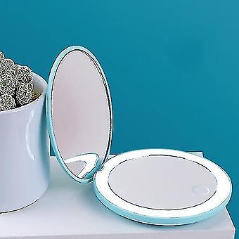Mirrors 1pc portátil espelho de maquiagem led iluminado dobrável redonda ampliação cosméticos viagem