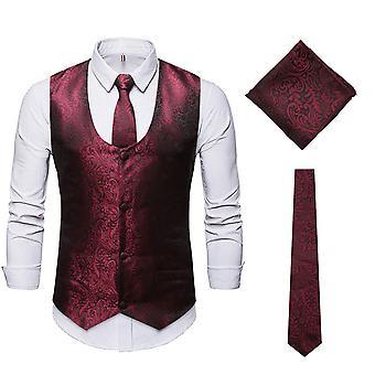 Mile Men's U-neck Jacquard Waistcoat Three-piece Suit (vest + Tie + Square Scarf)