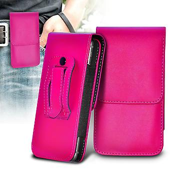Lenovo A816 Vertical Faux Leather Belt Holster Pouch Cover Case (Hot Pink)