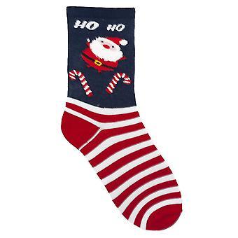RJM дамы Рождество носки синего Санта HOHO размер Великобритания 4-7