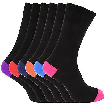Mens bomull rik Casual kontrast hæl & Toe sokker (pakke med 6)