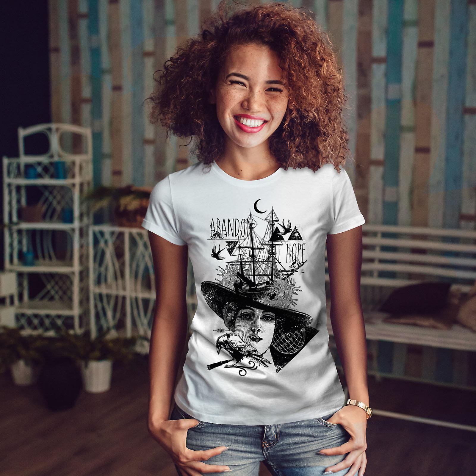 Abandonner tout espoir femmes WhiteT-shirt | Wellcoda