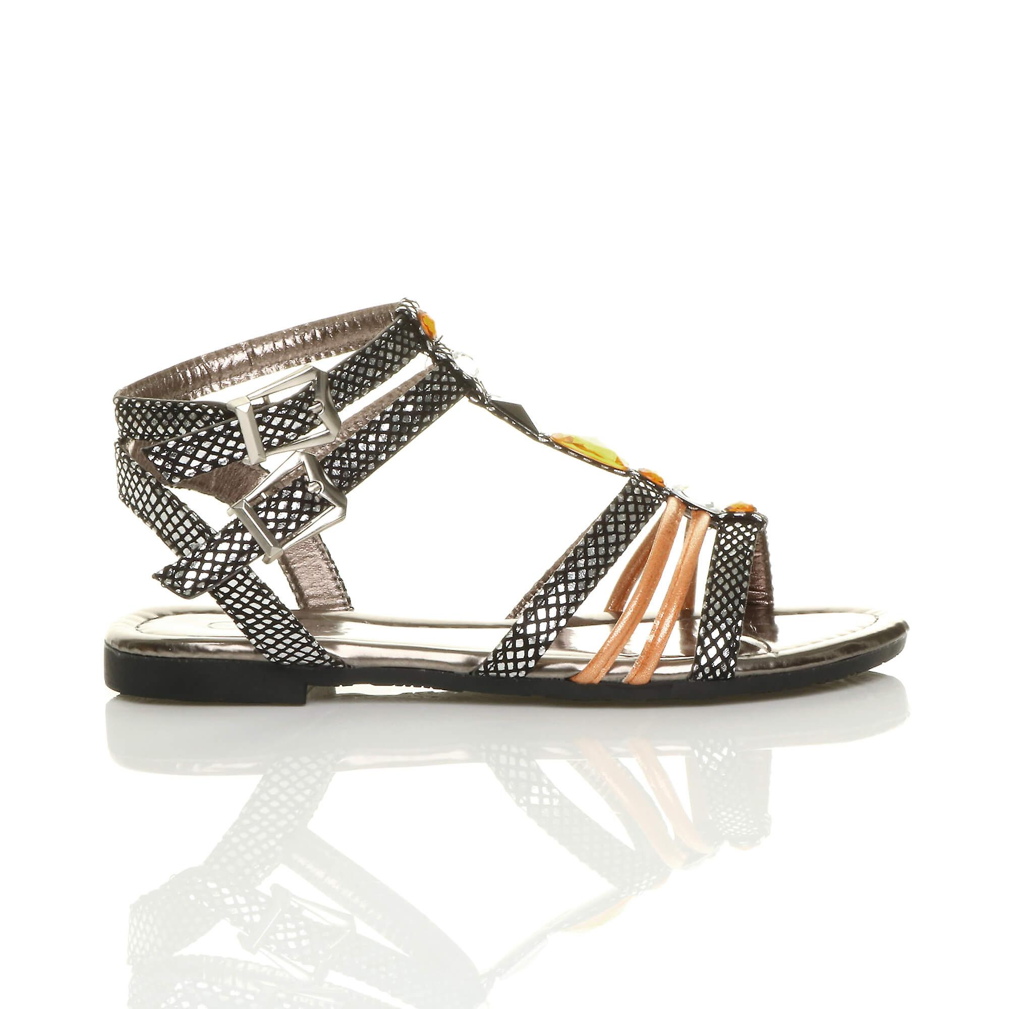 Ajvani womens plat strappy t-bar gladiator enkel riem gesp gem sandalen - Gratis verzending APQQA7