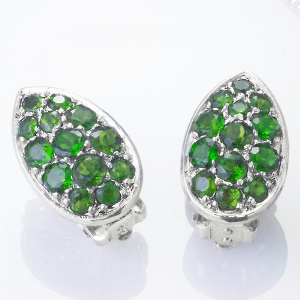 Shipton and Co Ladies Shipton And Co Silver Green Fire Diopside Pave Teardrop Shaped Stud Earrings EQA391DO