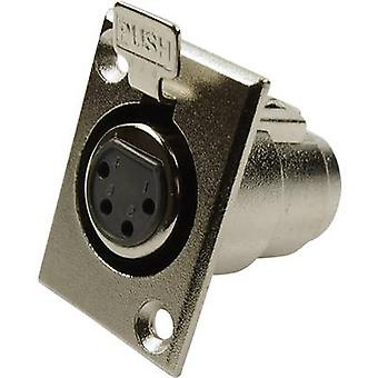 Cliff FC6120 XLR connector Sleeve socket, straight pins Number of pins: 4 Silver 1 pc(s)