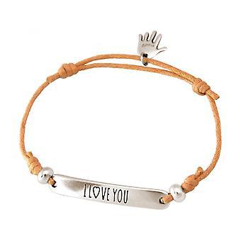 Damen - Armband - Gravur - I LOVE YOU - Silberfarben - Hellkoralle - Rose