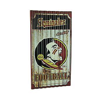 Florida State Seminoles Football Weathered Finish Corrugated Metal Sign