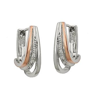 Creole 18x6mm hinged flip top of zirconias bicolor rhodium-plated Silver 925
