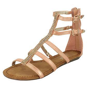 Damen Savannah Doppel Schnalle Gurt Juwel Fronted Sandalen