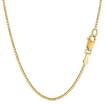 14 k gul Solid Gold spejl boks kæde halskæde, 1,2 mm