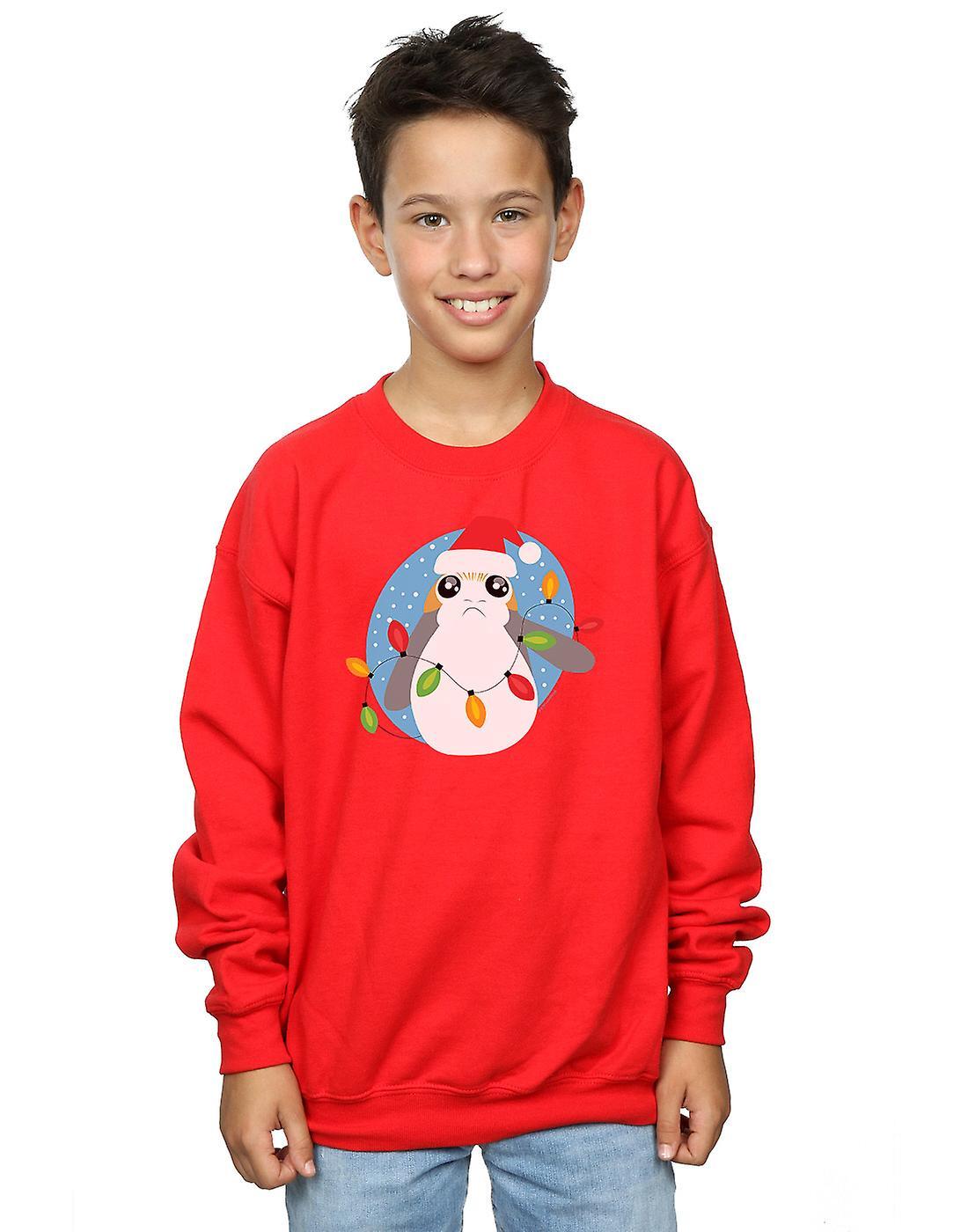 Star Wars Boys The Last Jedi Porg Christmas Lights Sweatshirt
