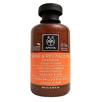 Apivita の輝き・ オレンジと活性化シャンプー 8.45 オンスを蜂蜜・