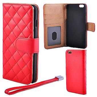Quilted Luxury Wallet Case for 6 Plus/6S Plus Red