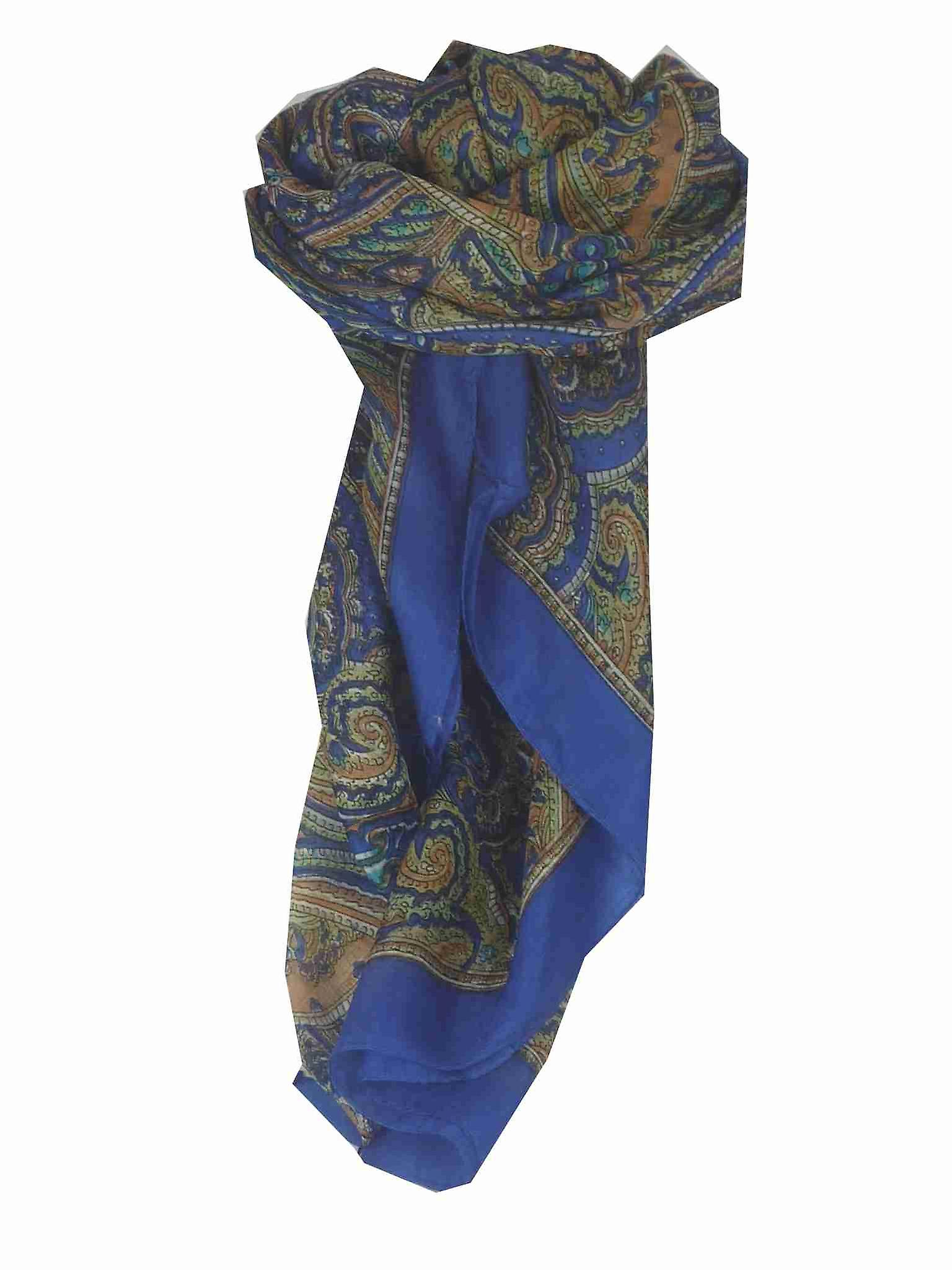 Mulberry Silk Traditional Square Scarf Shimla Blue by Pashmina & Silk