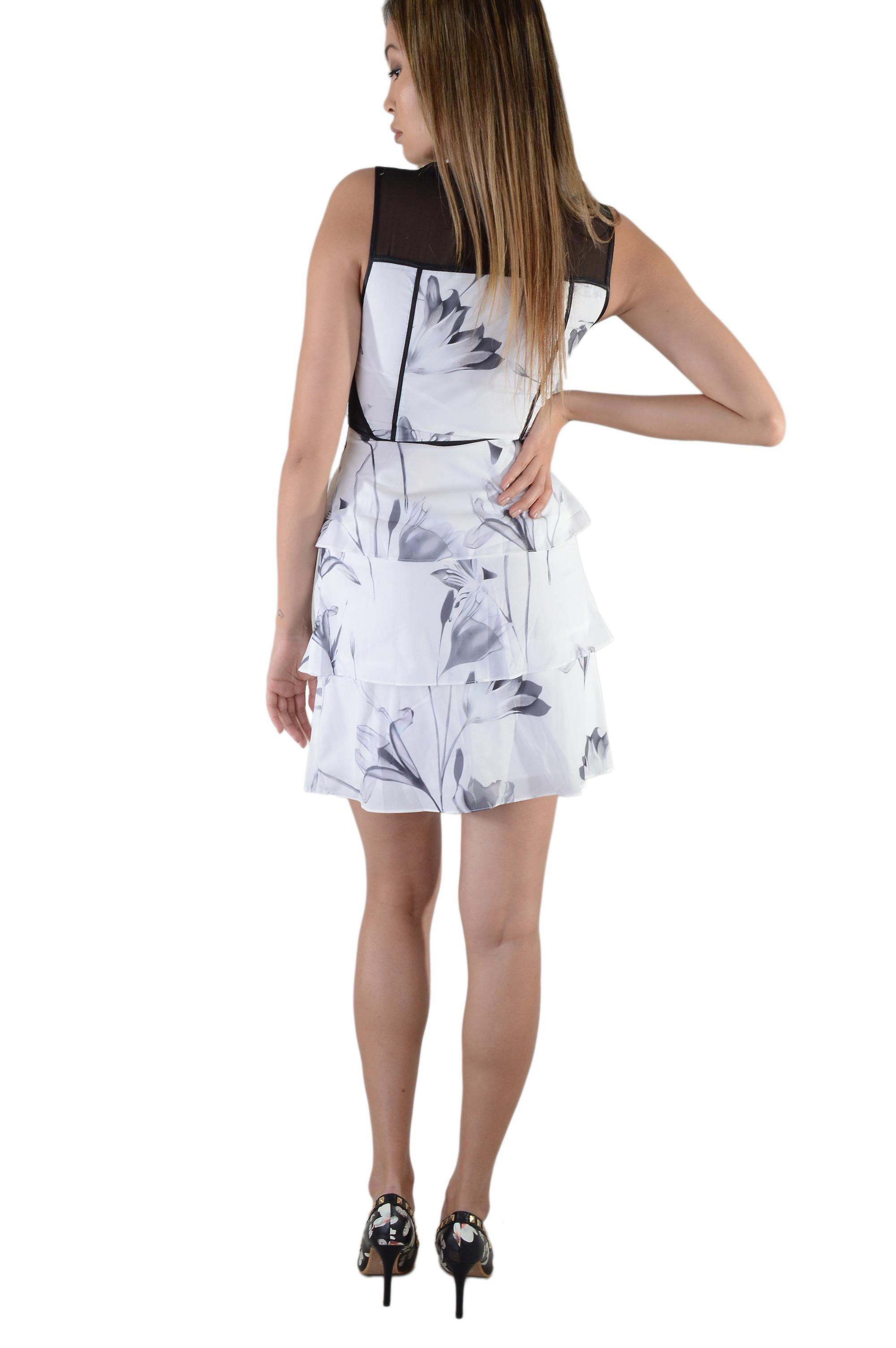 LMS White Floral Print Peplum Dress With Mesh Inserts