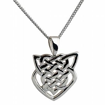 Silver 20x19mm Celtic knot Pendant with a curb Chain 24 inch
