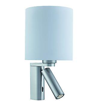 Satin sølv veggen lys med justerbar leselampe - søkelys 0991SS