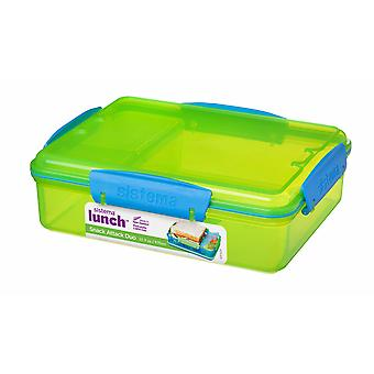 Sistema 975ml Multi compartiment Snack Attack Duo lunchbox, Lime groen