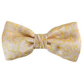 Knightsbridge Neckwear Floral Polyester Bow Tie - Cream/Gold