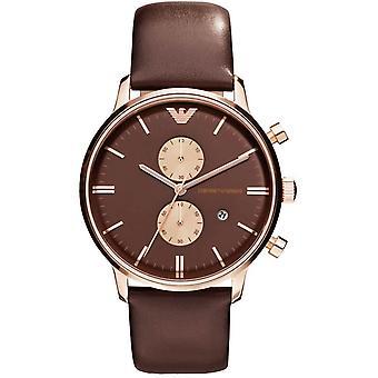 Emporio Armani Chronograph Mens Gents brun Wrist Watch AR0387