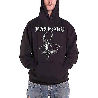 Official Mens Bathory Goat pentagram Band logo new Black Pullover Hoodie