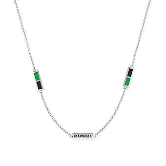 Marshall University Sterling Silver Engraved Triple Station Necklace In Green and Black