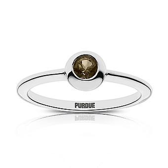 Purdue University Quartz Stone Ring In Sterling Silver Design by BIXLER