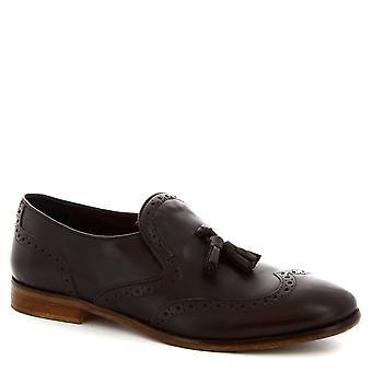 Leonardo Shoes Men's brogue tassel moccasins in dark brown calf leather
