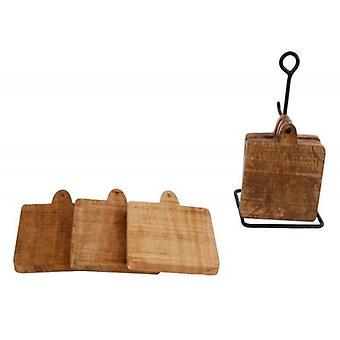 Marlena Deco træ coastere med metal holder