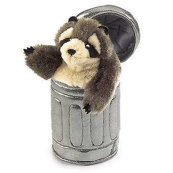 Hand Puppet - Folkmanis - Raccoon In Garbage Can New Animals Soft Doll Plush 2321