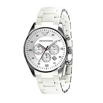 Emporio Armani Mens White Sport Chronograph Watch Ar5859