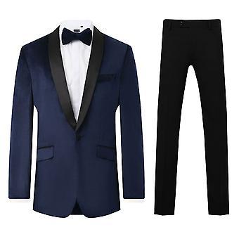 Dobell mens Navy Velvet 2 stuk Tuxedo regular fit contrast sjaal revers