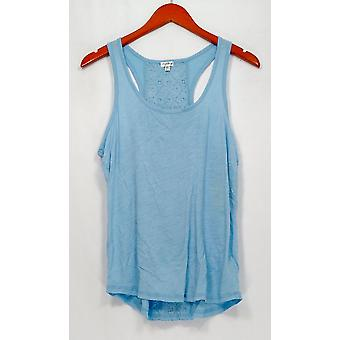 P.J. Salvage Top Sleeveless Tank Style w/ Lace Detail Blue
