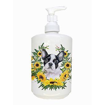 Francês bulldog preto branco cerâmica dispensador de sabão
