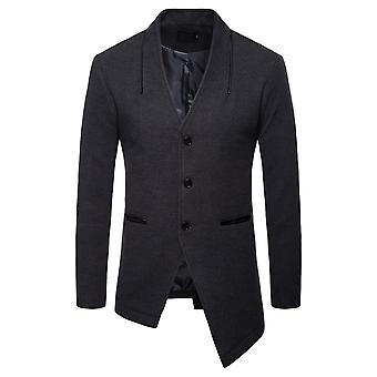 Allthemen menn ' s over coat solid lang casual uregelmessig hem høst frakk
