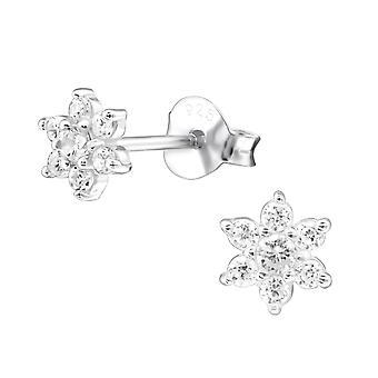 Flower - 925 Sterling Silver Cubic Zirconia Ear Studs - W27476X