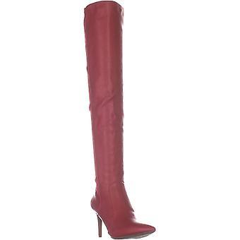INC Womens Izetta imiteret læder over-the-knæ støvler rød 7 medium (B, M)