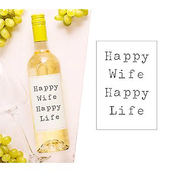 Happy Wife Happy Life Wine Bottle Label