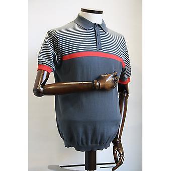 Merc London Blake Grey & Coral Knitted Polo Shirt