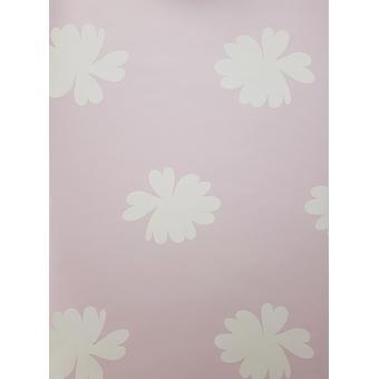 Vintage Chic Floral Motif Wallpaper White Blue Pink Flowers Girls Room East West